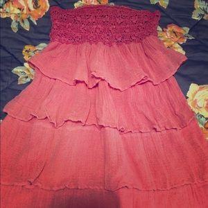 Jen's Pirate Booty Pink Tiered Mini Beach Dress XS